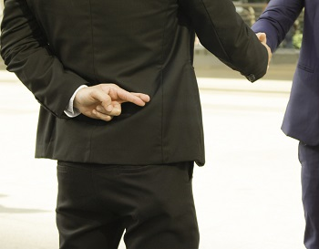 Business man shaking hand with lie sign, moving locally