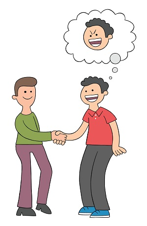 Cartoon two men shake hands and look happy but one of them is malicious, vector illustration